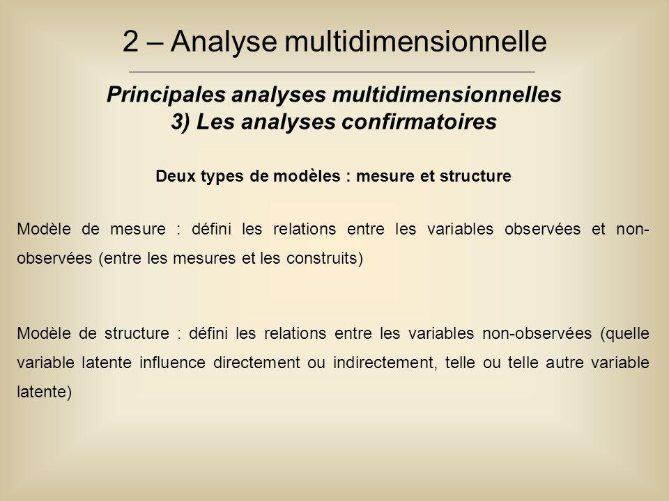2 – Analyse multidimensionnelle Principales analyses multidimensionnelles 3) Les analyses confirmatoires Deux types de modèles : mesure et structure M