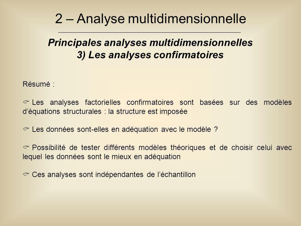 2 – Analyse multidimensionnelle Principales analyses multidimensionnelles 3) Les analyses confirmatoires Résumé :  Les analyses factorielles confirma