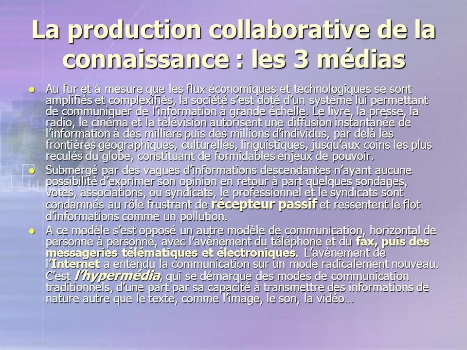 La production collaborative de la connaissance : les 3 médias Au fur et à mesure que les flux économiques et technologiques se sont amplifiés et compl