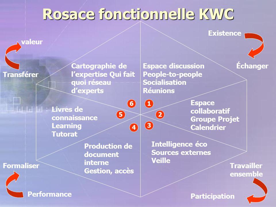Rosace fonctionnelle KWC Cartographie de l'expertise Qui fait quoi réseau d'experts Livres de connaissance Learning Tutorat Production de document int