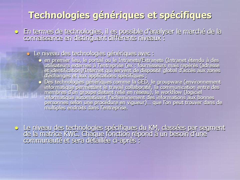 Technologies génériques et spécifiques En termes de technologies, il es possible d'analyser le marché de la connaissance en distinguant différents niv