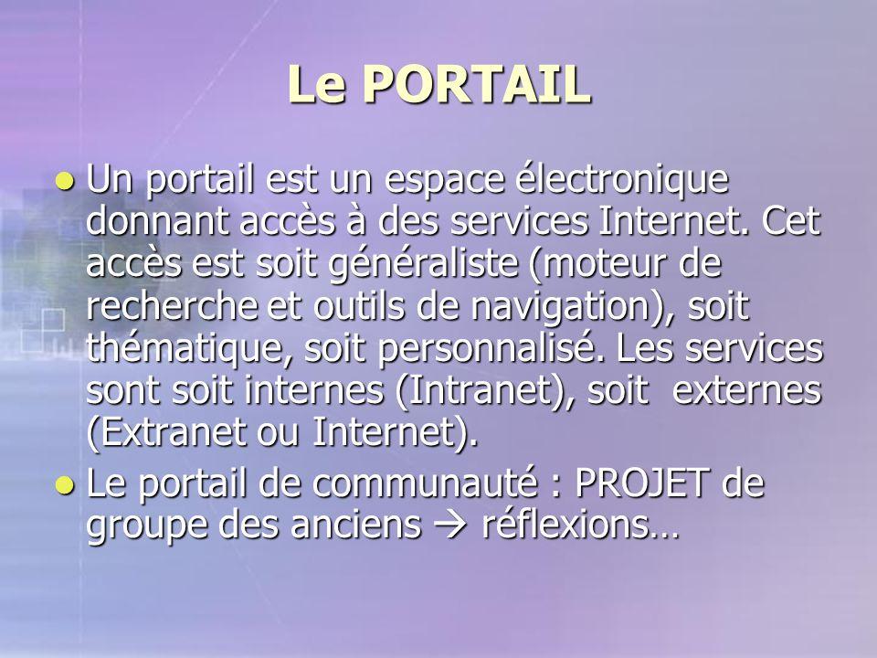 Le PORTAIL Un portail est un espace électronique donnant accès à des services Internet. Cet accès est soit généraliste (moteur de recherche et outils
