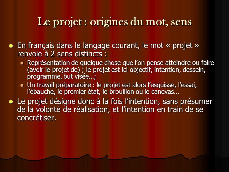 Le projet : origines du mot, sens En français dans le langage courant, le mot « projet » renvoie à 2 sens distincts : En français dans le langage cour