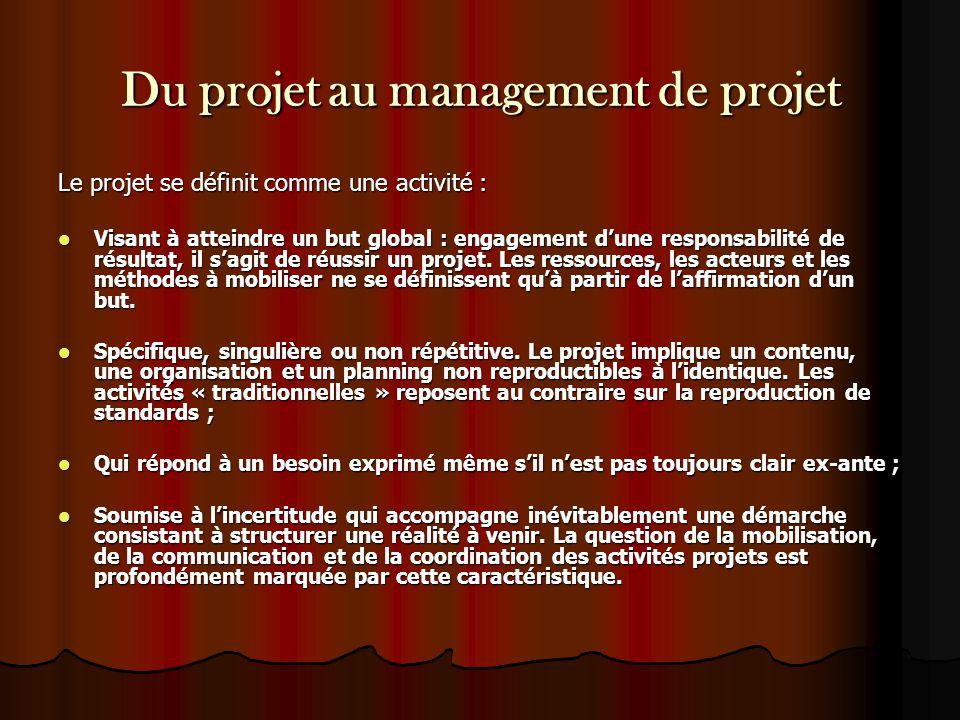 Du projet au management de projet Le projet se définit comme une activité : Visant à atteindre un but global : engagement d'une responsabilité de résu