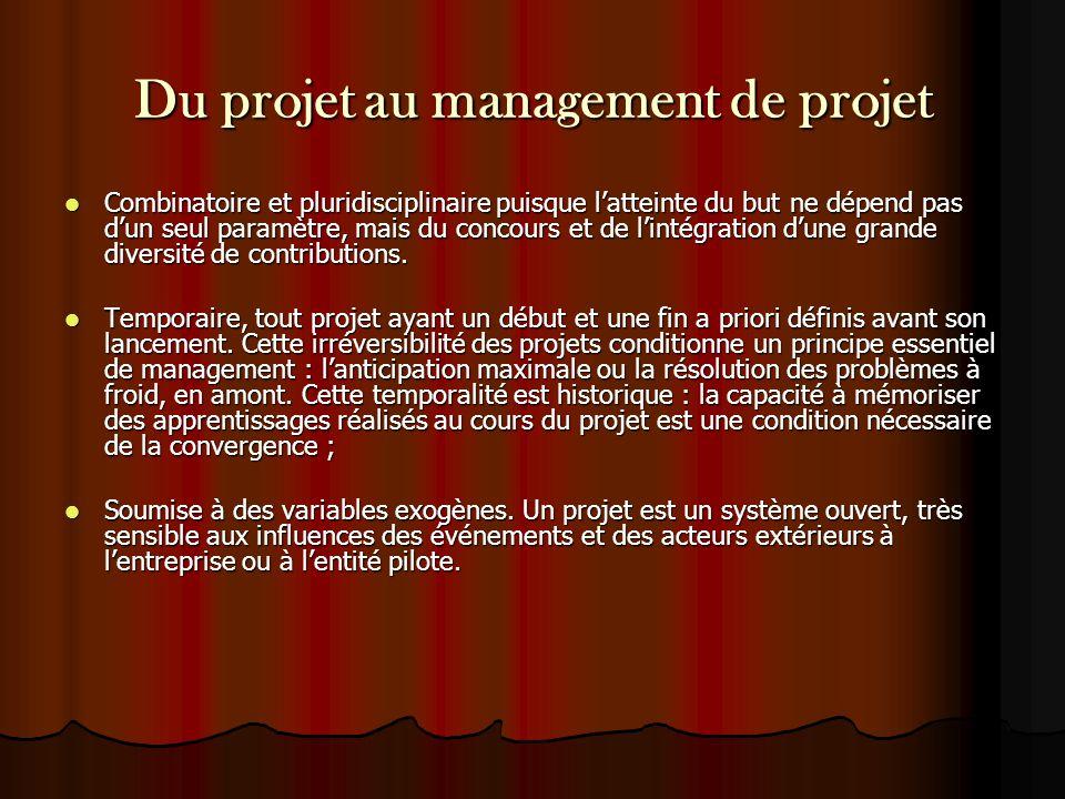 Du projet au management de projet Combinatoire et pluridisciplinaire puisque l'atteinte du but ne dépend pas d'un seul paramètre, mais du concours et