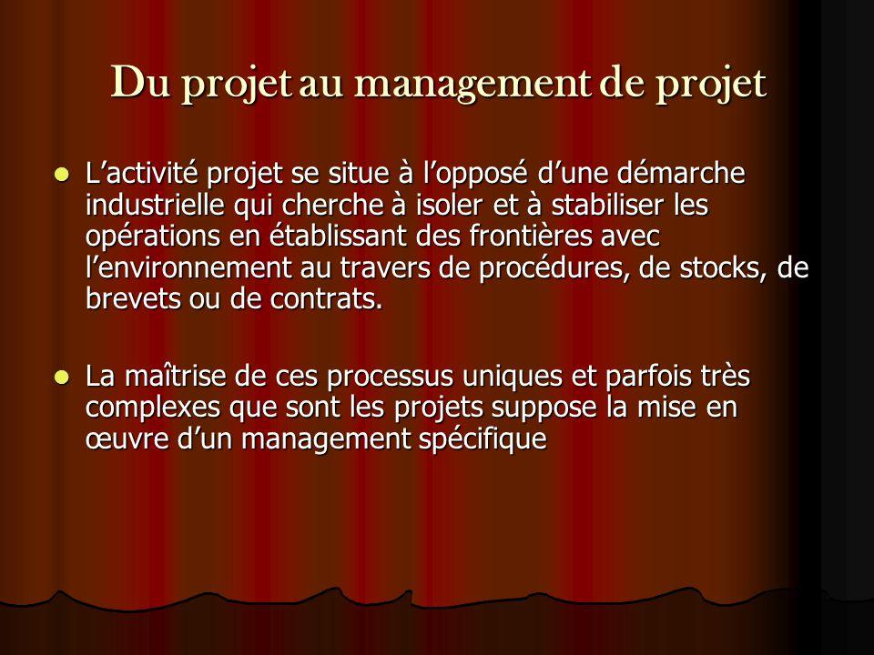 Du projet au management de projet L'activité projet se situe à l'opposé d'une démarche industrielle qui cherche à isoler et à stabiliser les opération