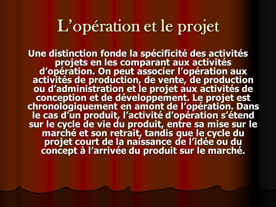 L'opération et le projet Une distinction fonde la spécificité des activités projets en les comparant aux activités d'opération. On peut associer l'opé
