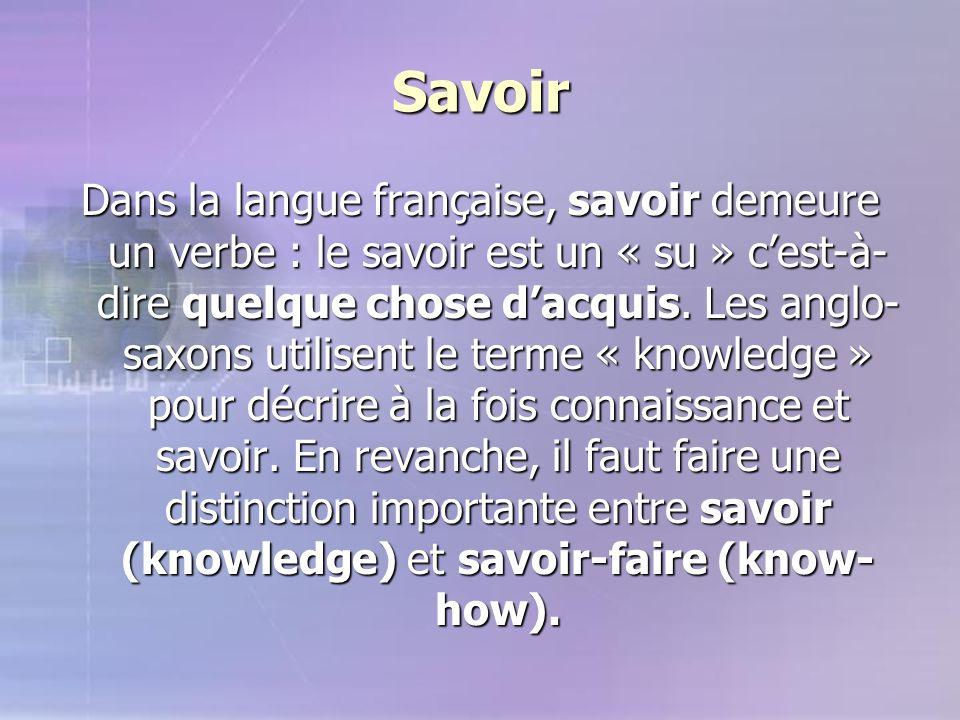 Savoir Dans la langue française, savoir demeure un verbe : le savoir est un « su » c'est-à- dire quelque chose d'acquis. Les anglo- saxons utilisent l