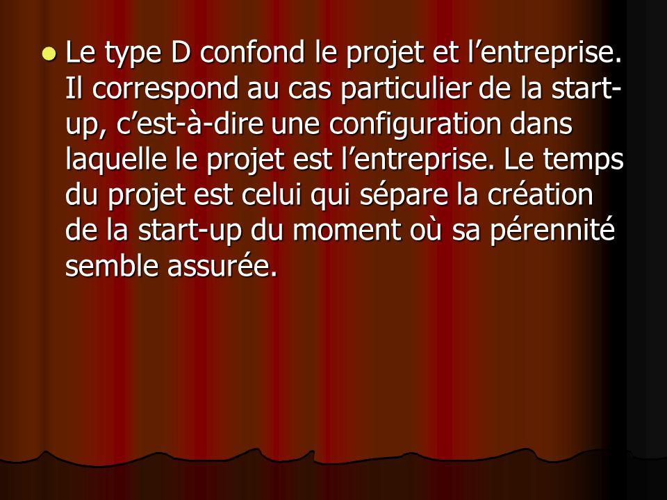 Le type D confond le projet et l'entreprise. Il correspond au cas particulier de la start- up, c'est-à-dire une configuration dans laquelle le projet