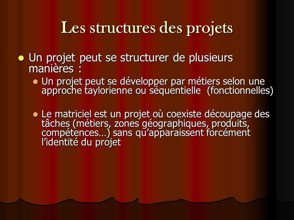 Les structures des projets Un projet peut se structurer de plusieurs manières : Un projet peut se structurer de plusieurs manières : Un projet peut se