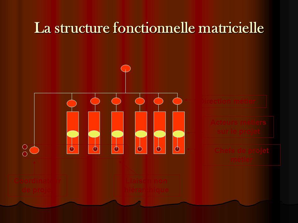 La structure fonctionnelle matricielle Direction métier Acteurs métiers sur le projet Chefs de projet métier Coordinateur de projet Liaison non hiérar
