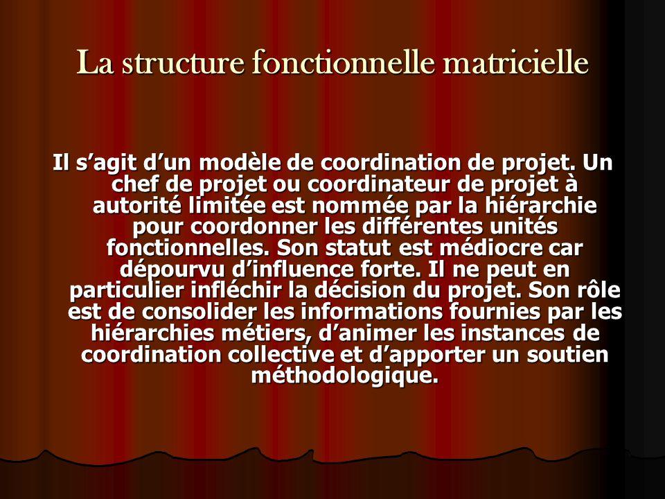 La structure fonctionnelle matricielle Il s'agit d'un modèle de coordination de projet. Un chef de projet ou coordinateur de projet à autorité limitée