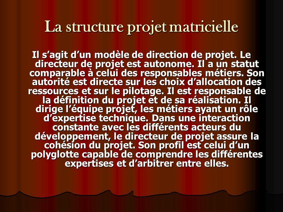 La structure projet matricielle Il s'agit d'un modèle de direction de projet. Le directeur de projet est autonome. Il a un statut comparable à celui d