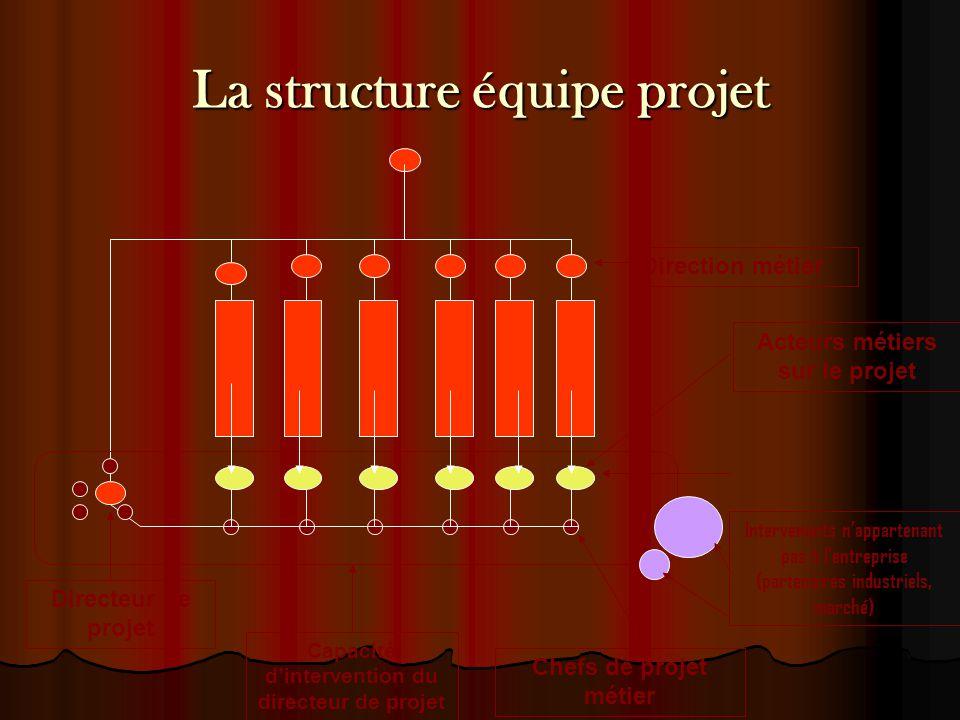 La structure équipe projet Direction métier Acteurs métiers sur le projet Chefs de projet métier Directeur de projet Capacité d'intervention du direct