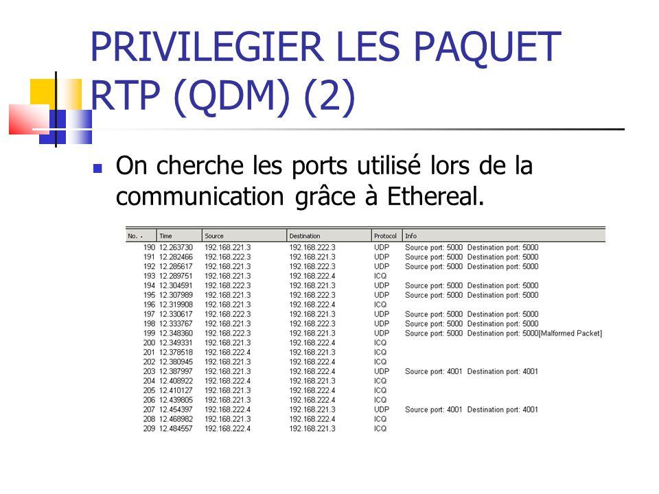 PRIVILEGIER LES PAQUET RTP (QDM) (2) On cherche les ports utilisé lors de la communication grâce à Ethereal.