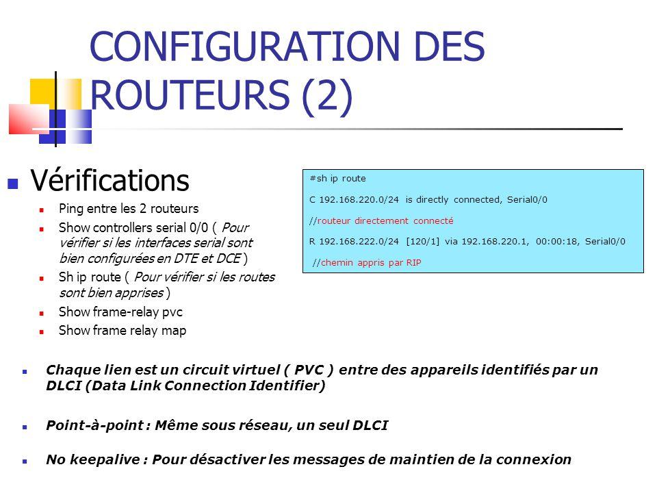 CONFIGURATION DES ROUTEURS (2) Vérifications Ping entre les 2 routeurs Show controllers serial 0/0 ( Pour vérifier si les interfaces serial sont bien configurées en DTE et DCE ) Sh ip route ( Pour vérifier si les routes sont bien apprises ) Show frame-relay pvc Show frame relay map #sh ip route C 192.168.220.0/24 is directly connected, Serial0/0 //routeur directement connecté R 192.168.222.0/24 [120/1] via 192.168.220.1, 00:00:18, Serial0/0 //chemin appris par RIP Chaque lien est un circuit virtuel ( PVC ) entre des appareils identifiés par un DLCI (Data Link Connection Identifier) Point-à-point : Même sous réseau, un seul DLCI No keepalive : Pour désactiver les messages de maintien de la connexion