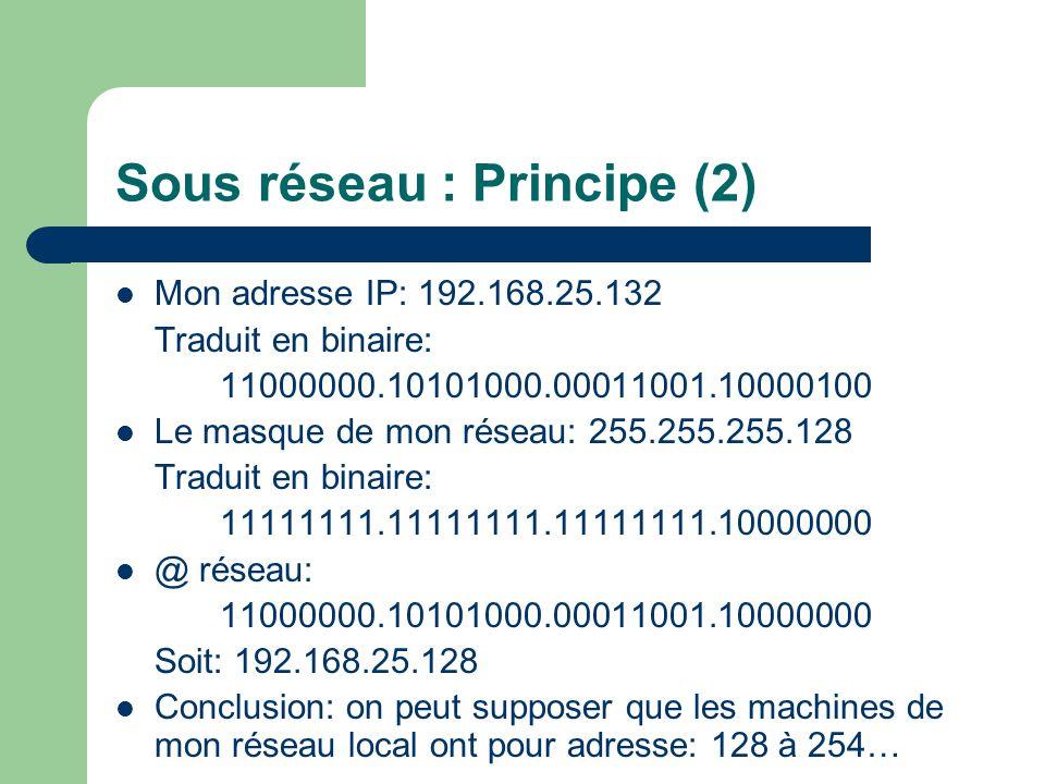 Sous réseau : Principe (2) Mon adresse IP: 192.168.25.132 Traduit en binaire: 11000000.10101000.00011001.10000100 Le masque de mon réseau: 255.255.255.128 Traduit en binaire: 11111111.11111111.11111111.10000000 @ réseau: 11000000.10101000.00011001.10000000 Soit: 192.168.25.128 Conclusion: on peut supposer que les machines de mon réseau local ont pour adresse: 128 à 254…