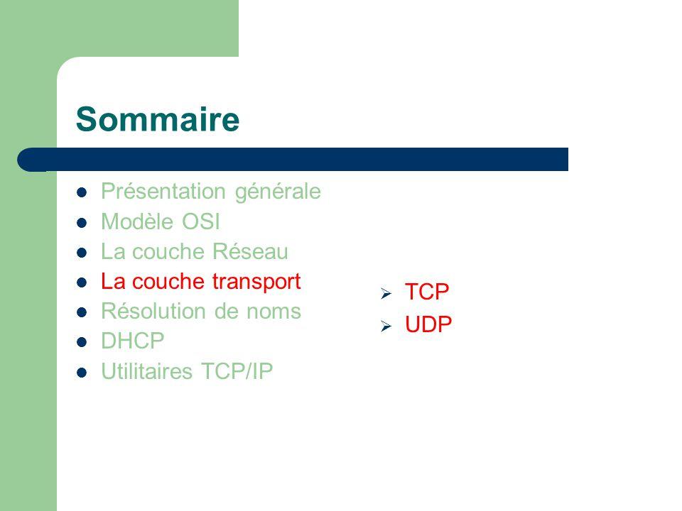 Sommaire Présentation générale Modèle OSI La couche Réseau La couche transport Résolution de noms DHCP Utilitaires TCP/IP  TCP  UDP