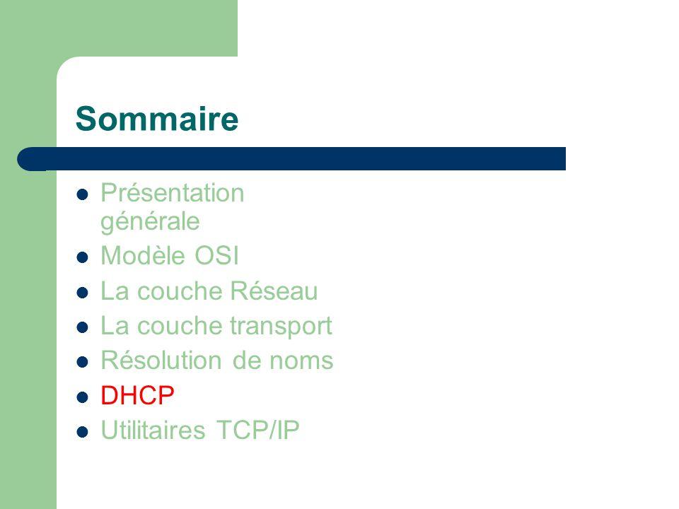 Sommaire Présentation générale Modèle OSI La couche Réseau La couche transport Résolution de noms DHCP Utilitaires TCP/IP