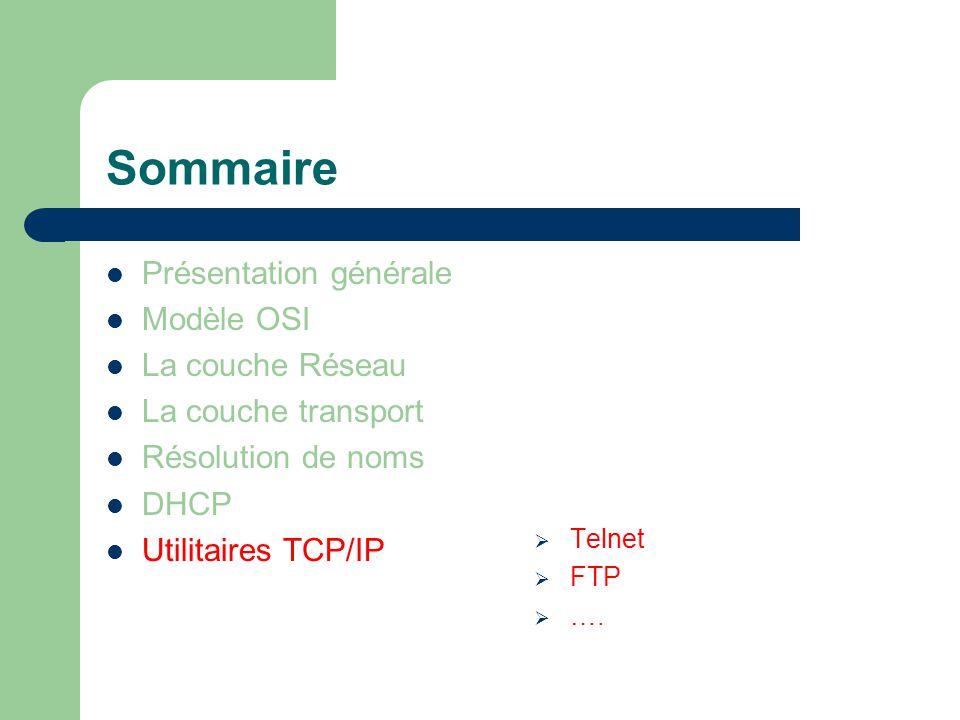 Sommaire Présentation générale Modèle OSI La couche Réseau La couche transport Résolution de noms DHCP Utilitaires TCP/IP  Telnet  FTP  ….
