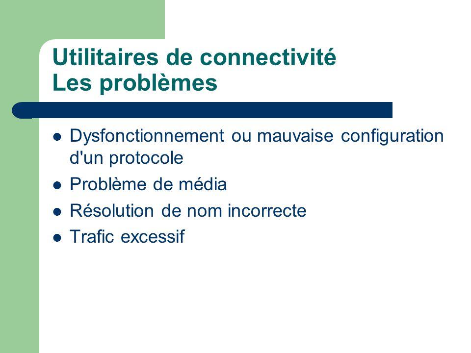 Utilitaires de connectivité Les problèmes Dysfonctionnement ou mauvaise configuration d un protocole Problème de média Résolution de nom incorrecte Trafic excessif