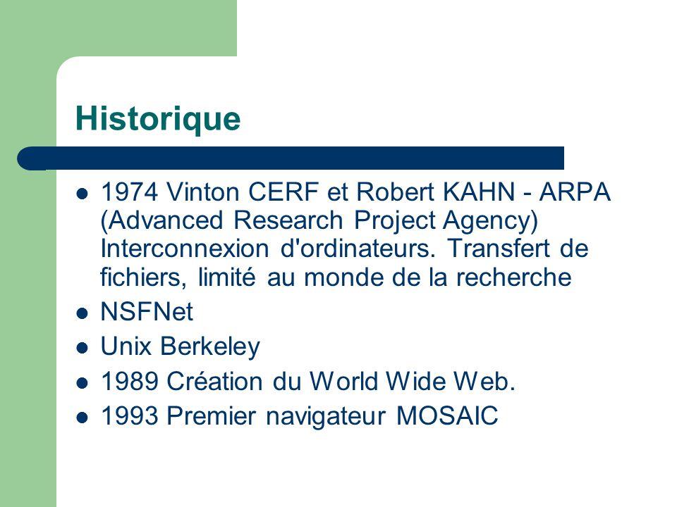 Historique 1974 Vinton CERF et Robert KAHN - ARPA (Advanced Research Project Agency) Interconnexion d ordinateurs.