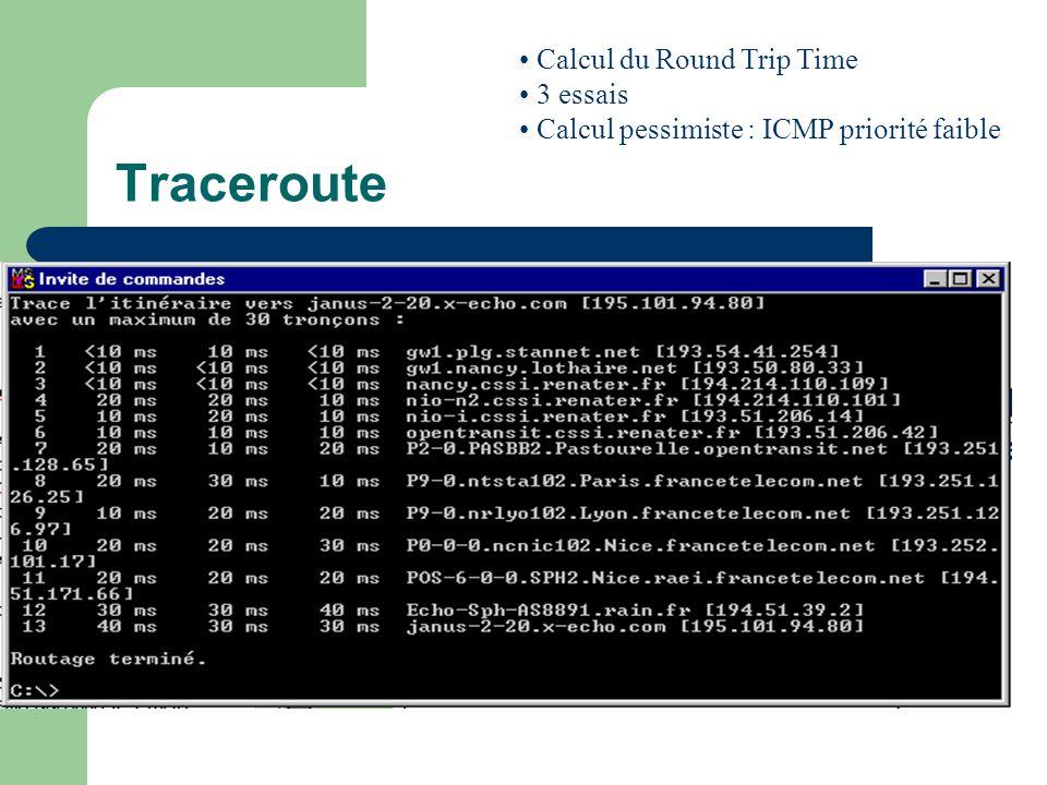Traceroute Tracer le chemin emprunté par les datagrammes Chemin à un instant t Commande lente Utilise ICMPICMP Calcul du Round Trip Time 3 essais Calcul pessimiste : ICMP priorité faible