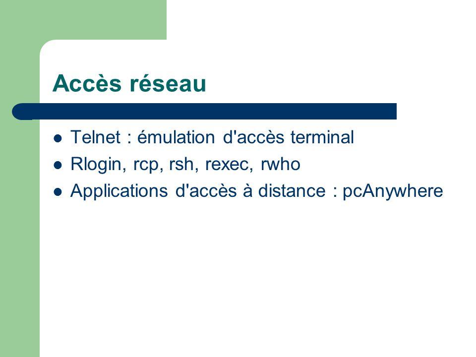 Accès réseau Telnet : émulation d accès terminal Rlogin, rcp, rsh, rexec, rwho Applications d accès à distance : pcAnywhere