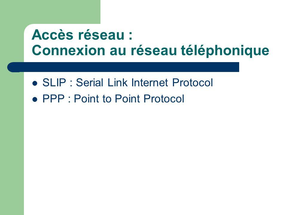 Accès réseau : Connexion au réseau téléphonique SLIP : Serial Link Internet Protocol PPP : Point to Point Protocol