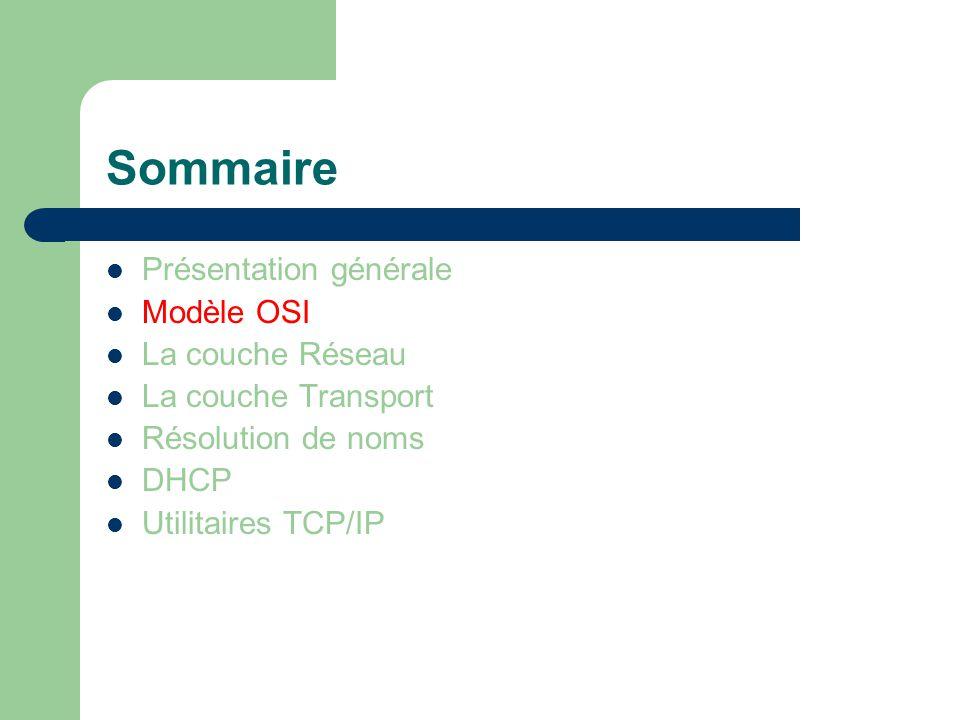 Sommaire Présentation générale Modèle OSI La couche Réseau La couche transport Résolution de noms DHCP Utilitaires TCP/IP  Domaines  Noms  DNS