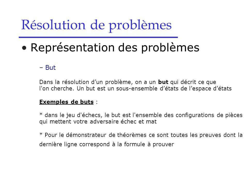 Résolution de problèmes Représentation des problèmes – But Dans la résolution d'un problème, on a un but qui décrit ce que l on cherche.