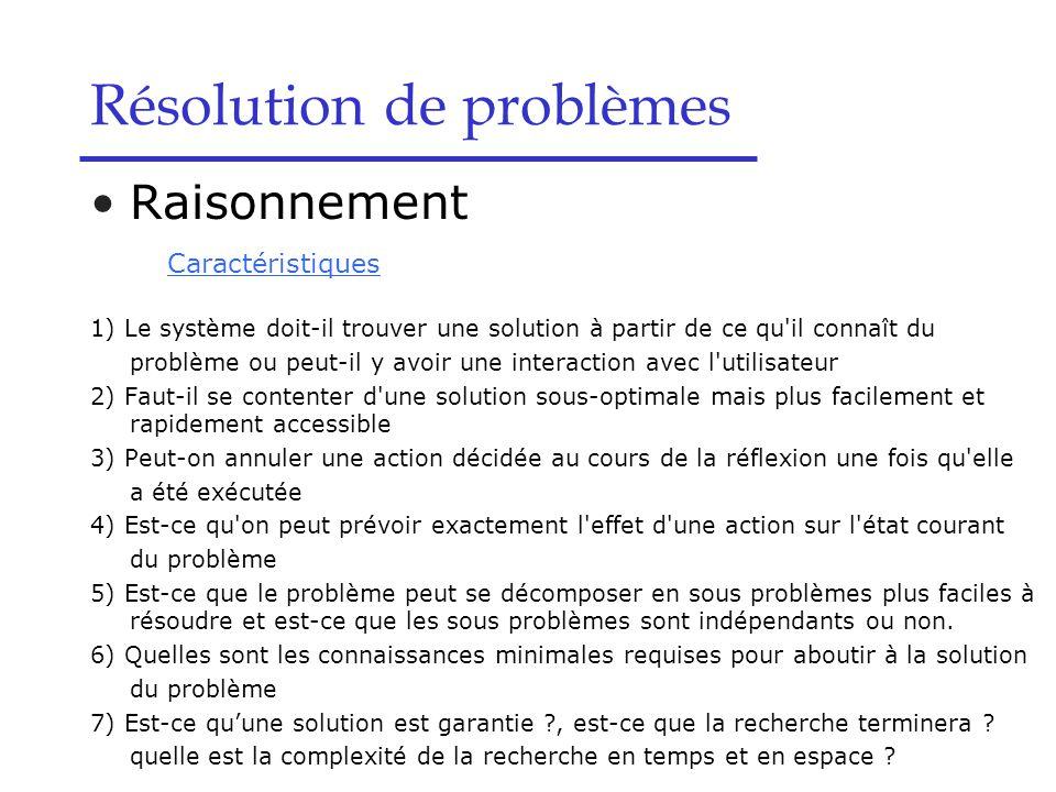 Résolution de problèmes Raisonnement Caractéristiques 1) Le système doit-il trouver une solution à partir de ce qu il connaît du problème ou peut-il y avoir une interaction avec l utilisateur 2) Faut-il se contenter d une solution sous-optimale mais plus facilement et rapidement accessible 3) Peut-on annuler une action décidée au cours de la réflexion une fois qu elle a été exécutée 4) Est-ce qu on peut prévoir exactement l effet d une action sur l état courant du problème 5) Est-ce que le problème peut se décomposer en sous problèmes plus faciles à résoudre et est-ce que les sous problèmes sont indépendants ou non.