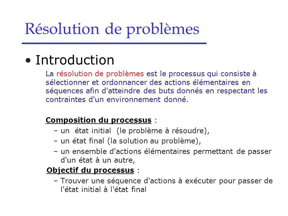 Résolution de problèmes Introduction La résolution de problèmes est le processus qui consiste à sélectionner et ordonnancer des actions élémentaires en séquences afin d atteindre des buts donnés en respectant les contraintes d un environnement donné.