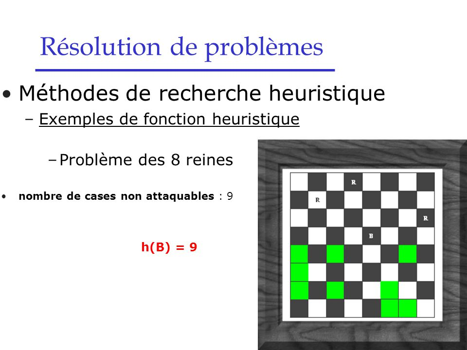 Méthodes de recherche heuristique –Exemples de fonction heuristique –Problème des 8 reines nombre de cases non attaquables : 9 h(B) = 9 Résolution de problèmes