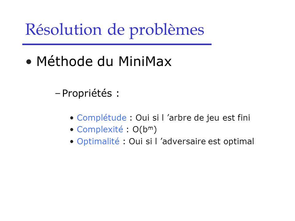 Méthode du MiniMax –Propriétés : Complétude : Oui si l 'arbre de jeu est fini Complexité : O(b m ) Optimalité : Oui si l 'adversaire est optimal Résolution de problèmes