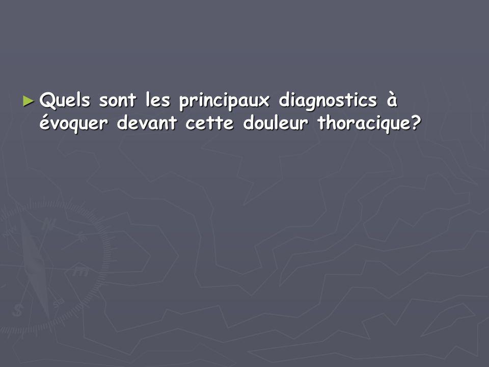 ► Quels sont les principaux diagnostics à évoquer devant cette douleur thoracique?