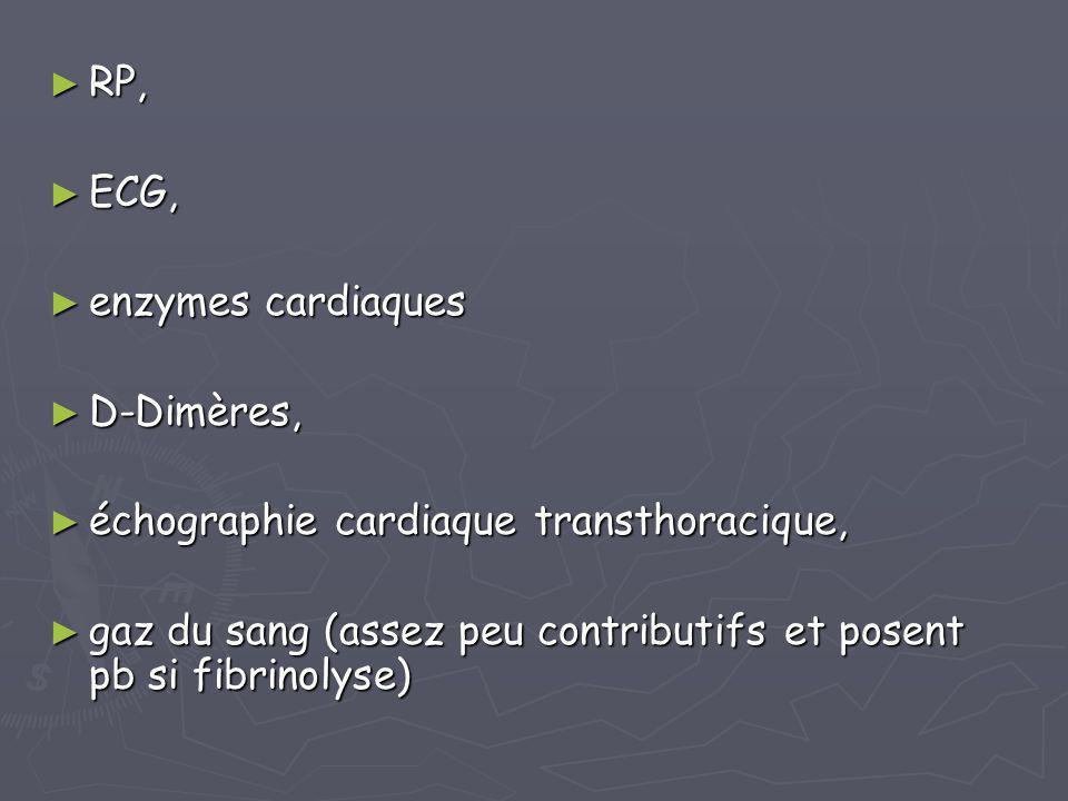 ► RP, ► ECG, ► enzymes cardiaques ► D-Dimères, ► échographie cardiaque transthoracique, ► gaz du sang (assez peu contributifs et posent pb si fibrinol