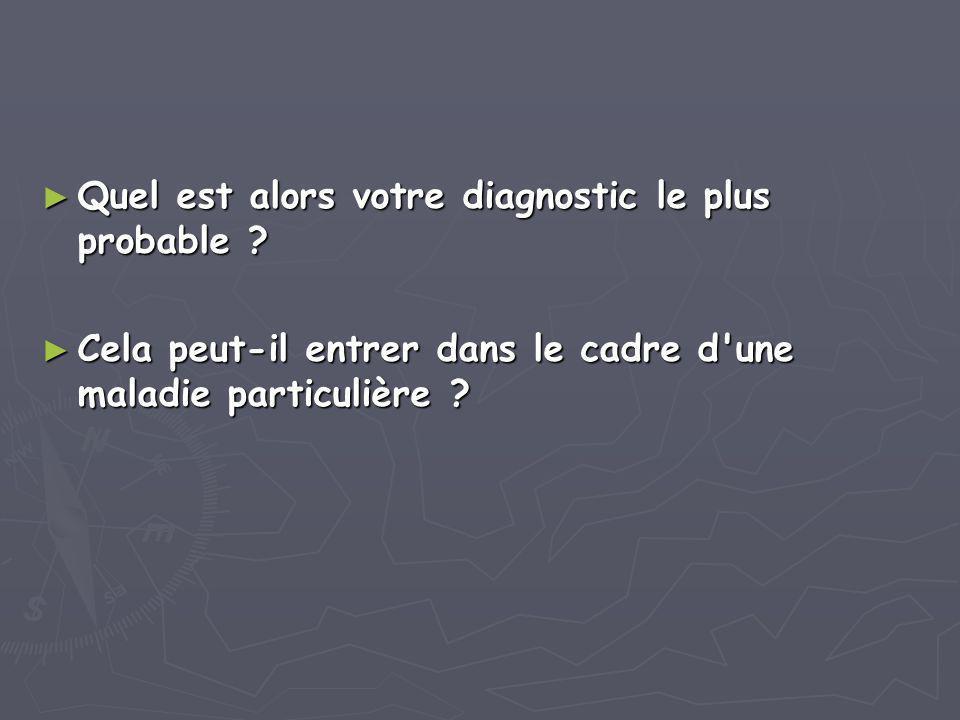 ► Quel est alors votre diagnostic le plus probable ? ► Cela peut-il entrer dans le cadre d'une maladie particulière ?