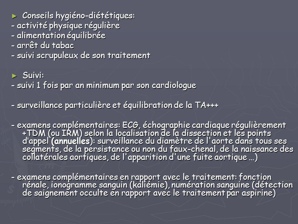 ► Conseils hygiéno-diététiques: - activité physique régulière - alimentation équilibrée - arrêt du tabac - suivi scrupuleux de son traitement ► Suivi: