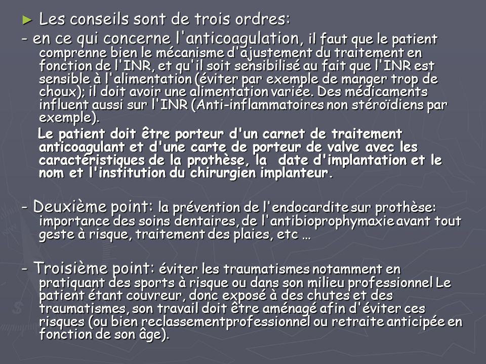 ► Les conseils sont de trois ordres: - en ce qui concerne l'anticoagulation, il faut que le patient comprenne bien le mécanisme d'ajustement du traite