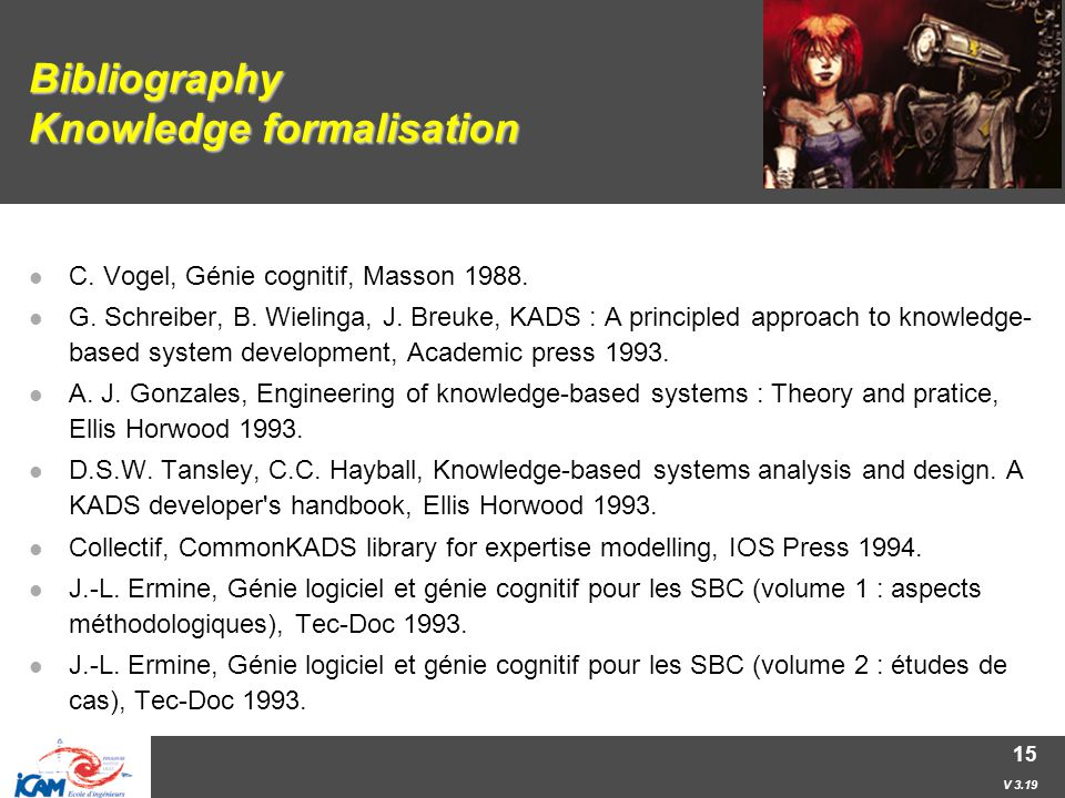 V 3.19 15 Bibliography Knowledge formalisation C. Vogel, Génie cognitif, Masson 1988.