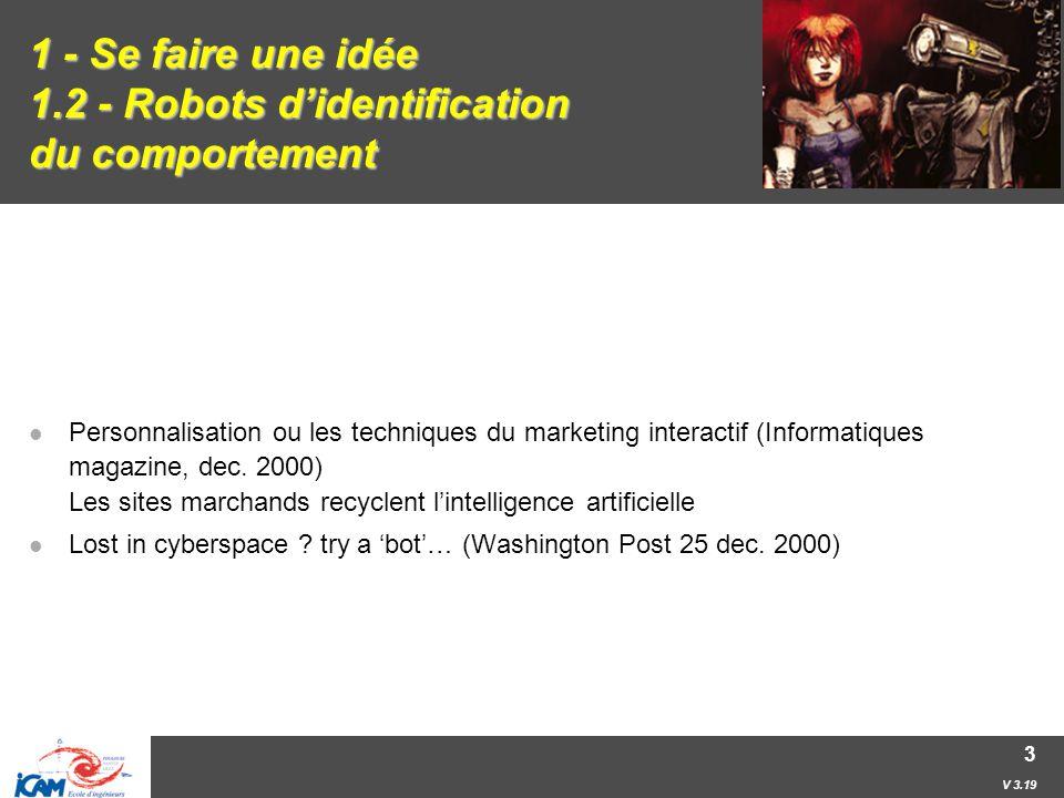 V 3.19 3 1 - Se faire une idée 1.2 - Robots d'identification du comportement Personnalisation ou les techniques du marketing interactif (Informatiques magazine, dec.