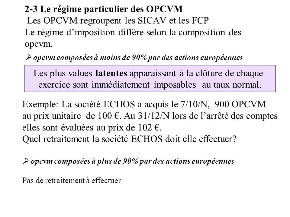 2-3 Le régime particulier des OPCVM Les OPCVM regroupent les SICAV et les FCP Le régime d'imposition diffère selon la composition des opcvm.