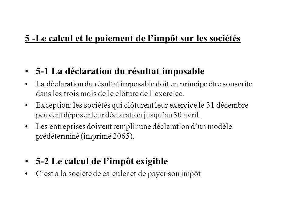 5 -Le calcul et le paiement de l'impôt sur les sociétés 5-1 La déclaration du résultat imposable La déclaration du résultat imposable doit en principe être souscrite dans les trois mois de le clôture de l'exercice.