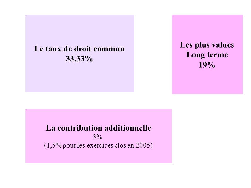 Le taux de droit commun 33,33% Les plus values Long terme 19% La contribution additionnelle 3% (1,5% pour les exercices clos en 2005)