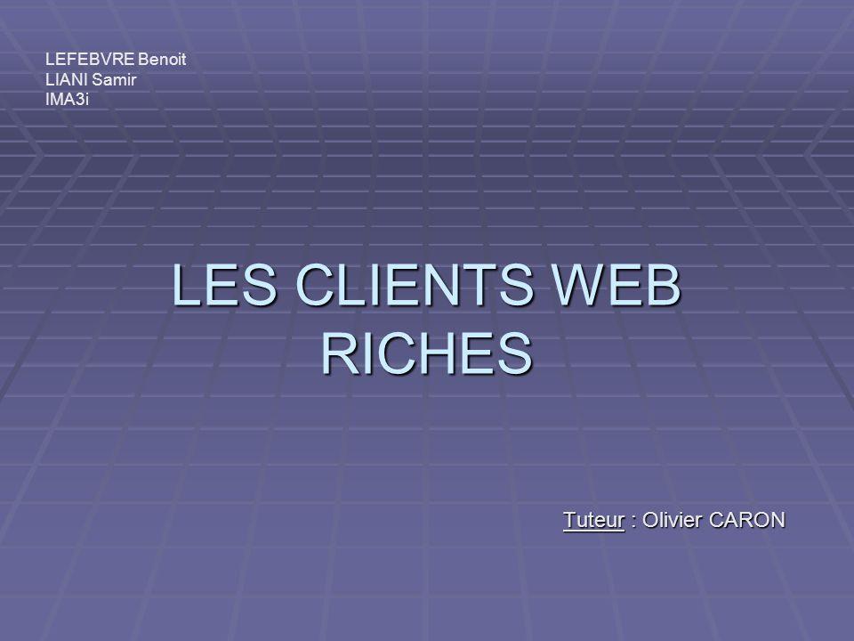 LES CLIENTS WEB RICHES Tuteur : Olivier CARON LEFEBVRE Benoit LIANI Samir IMA3i