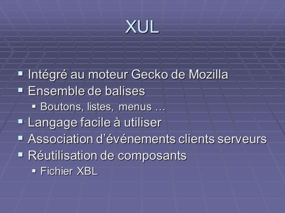 XUL  Intégré au moteur Gecko de Mozilla  Ensemble de balises  Boutons, listes, menus …  Langage facile à utiliser  Association d'événements clients serveurs  Réutilisation de composants  Fichier XBL