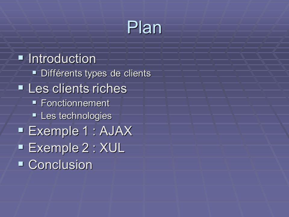 Plan  Introduction  Différents types de clients  Les clients riches  Fonctionnement  Les technologies  Exemple 1 : AJAX  Exemple 2 : XUL  Conclusion