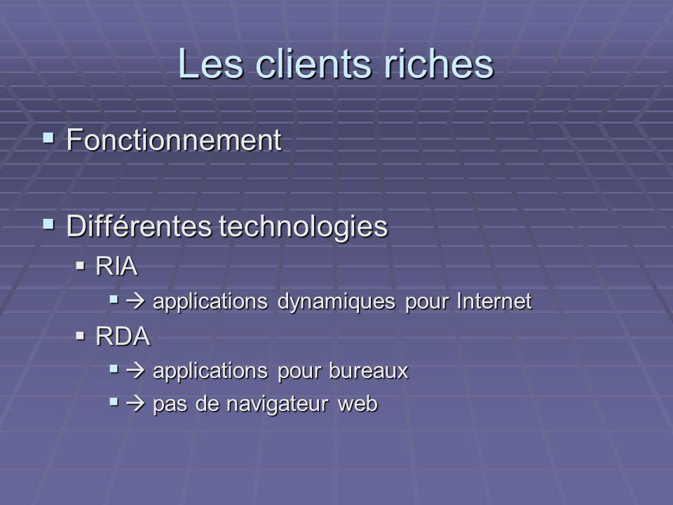 Les clients riches  Fonctionnement  Différentes technologies  RIA   applications dynamiques pour Internet  RDA   applications pour bureaux   pas de navigateur web