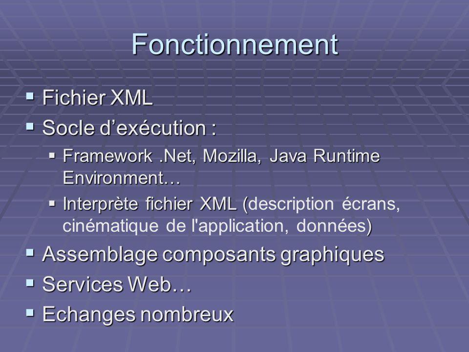 Fonctionnement  Fichier XML  Socle d'exécution :  Framework.Net, Mozilla, Java Runtime Environment…  Interprète fichier XML ( )  Interprète fichier XML (description écrans, cinématique de l application, données)  Assemblage composants graphiques  Services Web…  Echanges nombreux